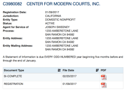 00003 Center for Modern Courts, Inc (EIN#815295623, CalEntity398002, Jan2017ff, website *'org) Joseph Sweeney (SanRamon) working w Kathleen Russell, formerly an LLC)-SShot2018May18 @5.36