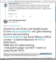@AngieUnderwd thrd Bitly=2r0BzX8 DV By Proxy quoting OneMomsBattle (who DN out AFCC+promos #OurFamilyWizard~18 SShots (notIncl LizLibr c|o OMB(TinaSwithin)'s DVByProxyquote)