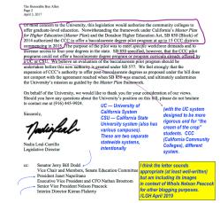 UC Office of Gov't Affairs (Dir, Nelson Peacock) Sample Ltr 2017 Apr 30 (re having the CCC system start teacher credentialing)( well-written ~~ 2 Sshots 2019Apr29 Mon PST@10.42.12AM