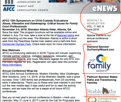 AFCC June 2016 Monthly eNews (Vol 11 No 6) showing AIC, ReginaMandl (MassProb+Fam Inn of Court) + 53rd Annual Conference Collaborating Orgs) ~ 1 pdf and Many Sshots 2019May18 Sat PST @7.38.23AM