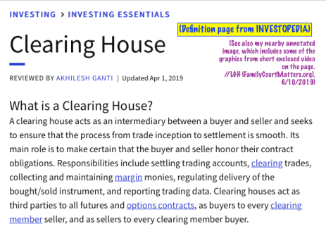 "For my post 'Mix-n-Match, Mis-understood Terms' near publication June 10, 2019, INVESTOPEDIA, Image #3 of 5, ""Clearinghouse"" definition sought ℅ Google Search (top results, See my annotations!"