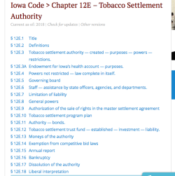 Iowa Code Chapter 12E Tobacco Settlemt Authority (from Lawserver'com) ~~Screen Shot 2019-06-08 at 4.37.53PM