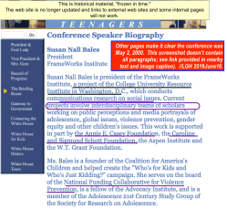 Susan Nall Bales bio blurb on (Clinton archives) May 2000 Whitehouse Conference on Teenagers | Screen Shot 2019-06-16 at 2.09.10 PM