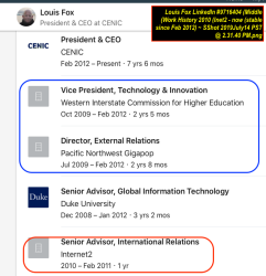 Louis Fox LinkedIn #9716404 (Middle (Work History 2010 (Inet2 – now (stable since Feb 2012) ~ SShot 2019July14 PST @ 2.31.40PM