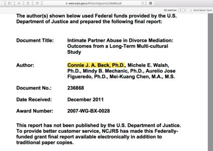 'IntimatePartnerAbuse in DivMed'tn|Outcomes frm a Long-Term Multi-cultural Study' (NCJRS.gov doct' 236868 Dec 2011) USDOJ-NIJ Grant 2007WG-BX-0028 Beck,ConnieJA+4 (SrchResults 'Dingwall')~~ SShot 2019Nov08 FRI PST @3.55.33 PM