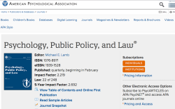 Psychology, Public Policy, and Law (APA Journal home page) ~~ SShot 2019-11-08 at 11.17.45AM