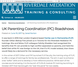'UK Parenting Coord (PC) Roadshow' image (see also pdf) by Jared Norton (AFCC-Ontario Bd Direc?) but @ Riverdale Mediaion | Screen Shot 2019-11-25 at 3.57.18PM
