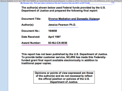 'DivorceMediation&DV,' April1997 Doct164658, by CenterPolicyRsrch(JessicaPearson) 'in collab w AFCC', NIJ Grant#93-IJ-CX-0036 (found only 2019Nov11)~7 imgs, pdf is 235pp!~ 2020Feb1 Sat PST @5.28.12PM