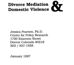 'DivorceMediation&DV,' April1997 Doct164658, by CenterPolicyRsrch(JessicaPearson) 'in collab w AFCC', NIJ Grant#93-IJ-CX-0036 (found only 2019Nov11)~7 imgs, pdf is 235pp!~ 2020Feb1 Sat PST @5.28.56PM