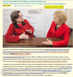 Christina Harms (L), Robin Deutsch, 1June2014, website WmJames College, re its CECFL, CAFES, post-doctoral students and High-Conflict Institute (for my post) Screen Shot 2020-06-26 at 9.12.37AM