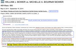 Wm J Bower v Michelle A. Bournay-Bower, 469 Mass.690, May 8, 2014-Sept. 15, 2014, court below Prob&FamilyCourt Dept, NorfolkCounty Mass || Screen Shot 2020-06-26 at 10.00.18AM